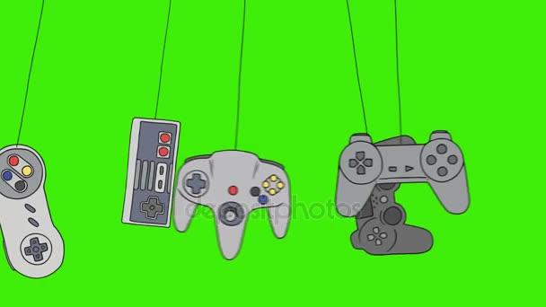 Dessin Anime Jeu Video Consoles Joystick Se Balancant Sur Un Fond D
