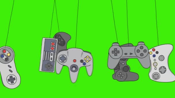 Cartoon Video Game Consoles Joystick Swinging on a Green Screen Background