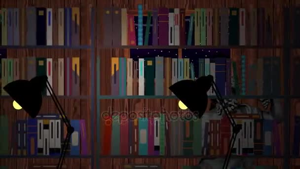 Person Walks in Library at Night in Cartoon Vector Style