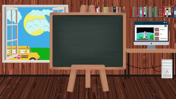 Cartoon Blackboard in a Children Classroom with a School Bus