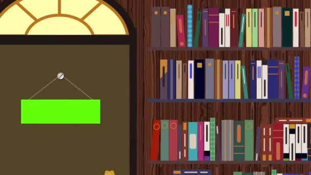 Cartoon Library with a Green Screens