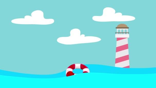 Kreslený záchranný kruh plovoucí mezi vlny moře a maják na vzdálenost