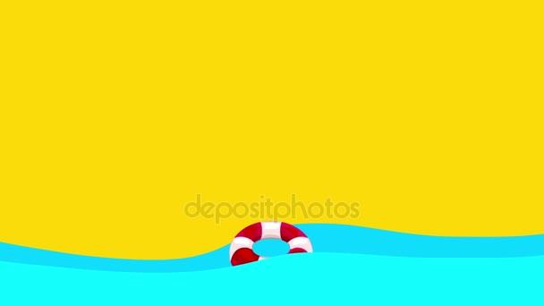 Lifebuoy fumetto galleggianti tra le onde del mare