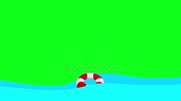 Lifebuoy fumetto galleggianti nel mare su uno schermo verde