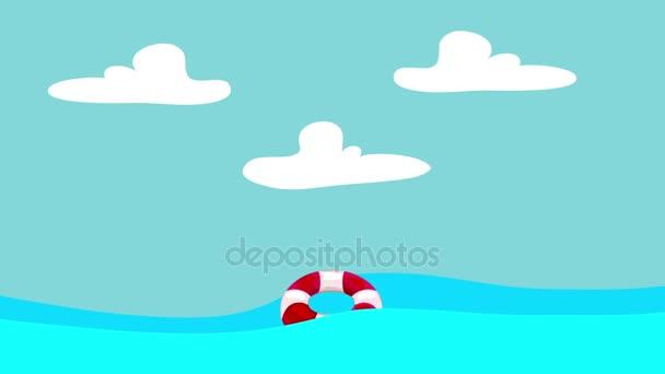 Lifebuoy fumetto galleggianti nel mare su uno sfondo di cielo blu