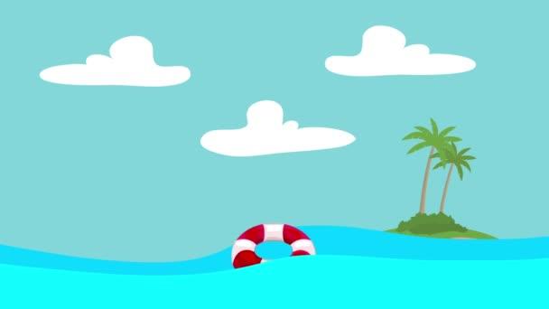 Kreslený záchranný kruh plovoucí v moři s ostrovem ve vzdálenosti