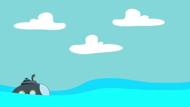Sommergibile del fumetto vela nel mare tra le onde