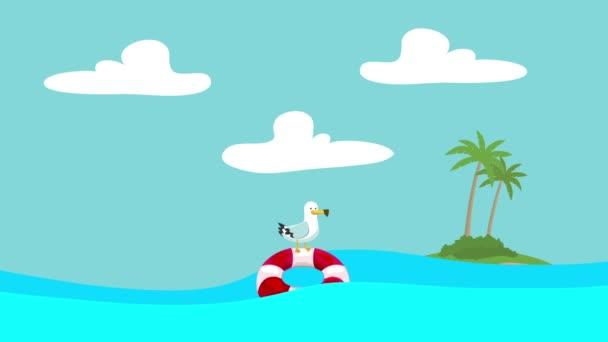 Gabbiano del fumetto in piedi su un salvagente galleggiante tra le onde del mare con unisola alla distanza