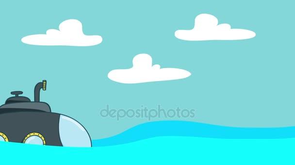 Sommergibile del fumetto vela nel mare