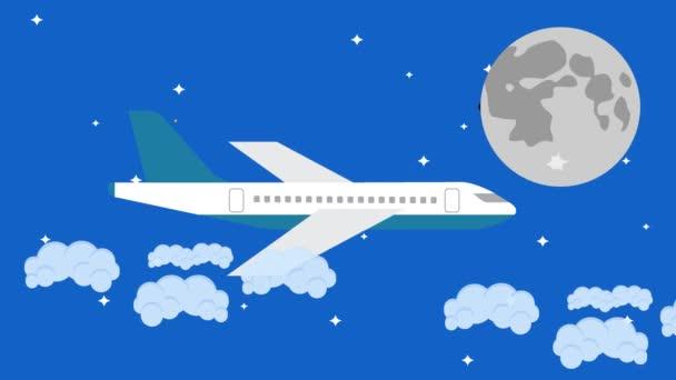 Vektorflugzeug fliegt bei Vollmond in den Nachthimmel