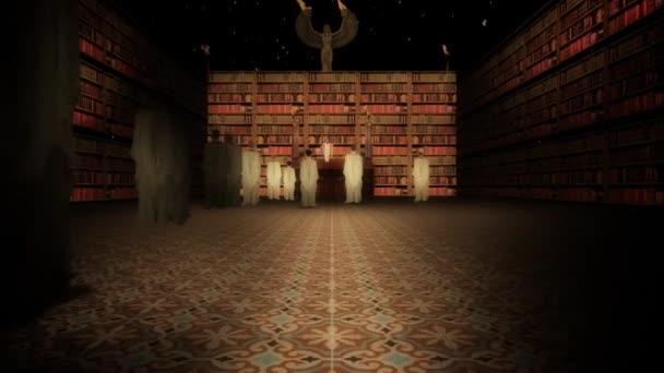 Interiér knihovny Alexandrie v přednáškovém sále pomalu přiblížit
