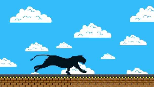 Black Panther Running In An Old Video Game Arcade Style