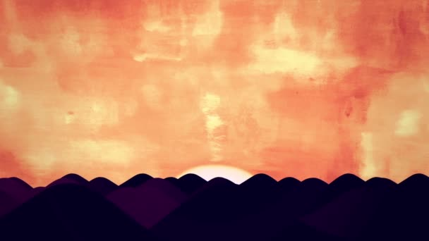 Animated Cartoon of Desert Dunes on Sunrise
