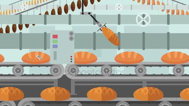 Many kinds of Bread in a Factory Conveyor in Cartoon Style