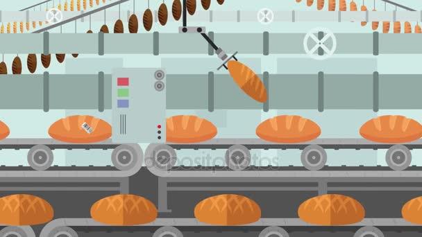 Mnoho druhů chleba v továrně dopravníku v karikatuře stylu