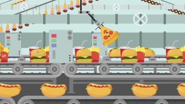 Kreslený Junk Food Factory naplněné jiný druh rychlého občerstvení