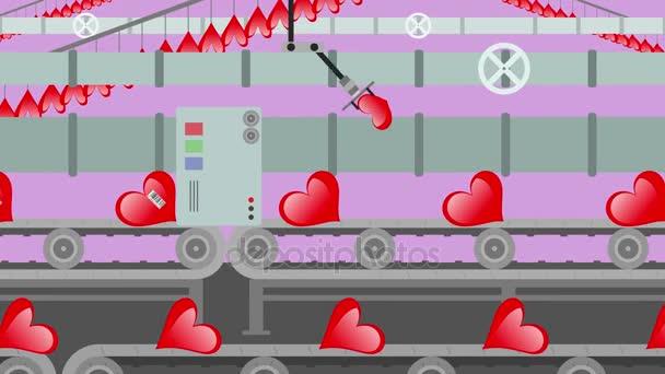 Factory červené srdce na kreslený styl dopravník