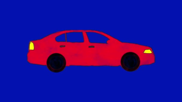 Ručně kreslené karikatury červené auto smyčka v alfa kanálu