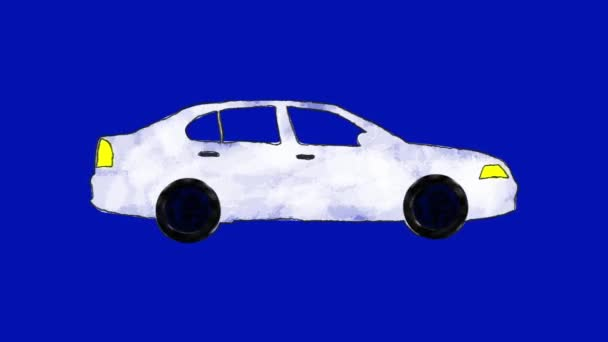 Ruční nakreslené karikatuře bílé auto smyčka v alfa kanálu