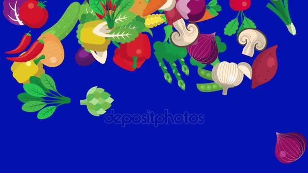 Cartoon Vegetables Falling on a Green Screen