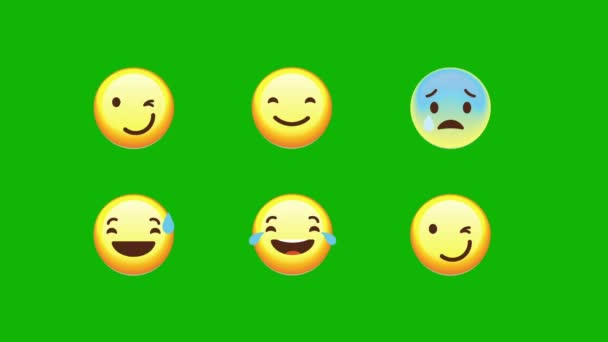 Funny Emoji Expressions In Flat Style on a Green Screen