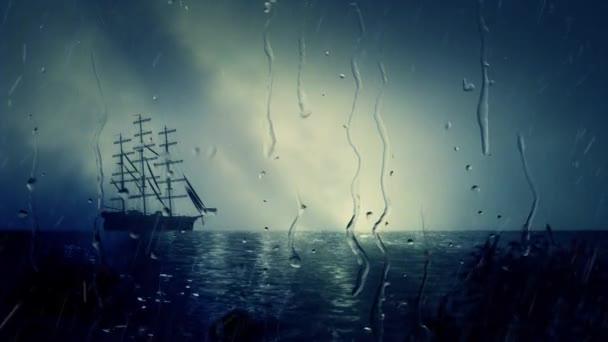 Plavba lodí Docking blízko pobřeží za deště