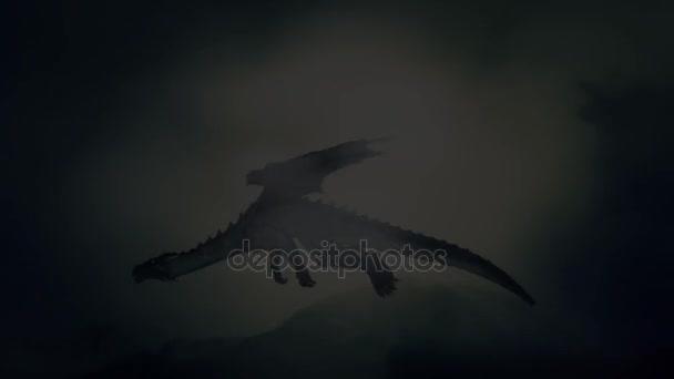 Sárkány repül az égen alatt villámlik, a hegység háttér