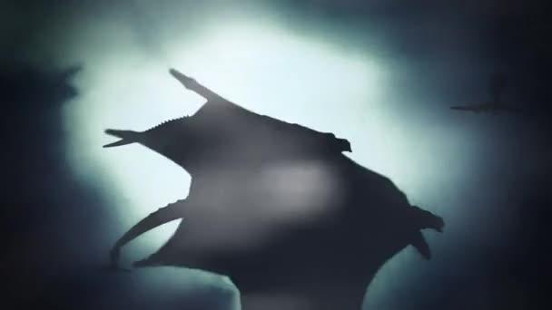 Gruppe von Drachen fliegt im Winterhimmel gegen den Wind