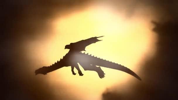 Sziluettjét a sárkány repülő ellen a Sun integetett a szárnyát
