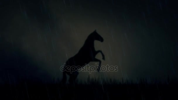 An Epic Stallion Horse Standing on a Field Under a Lightning Storm