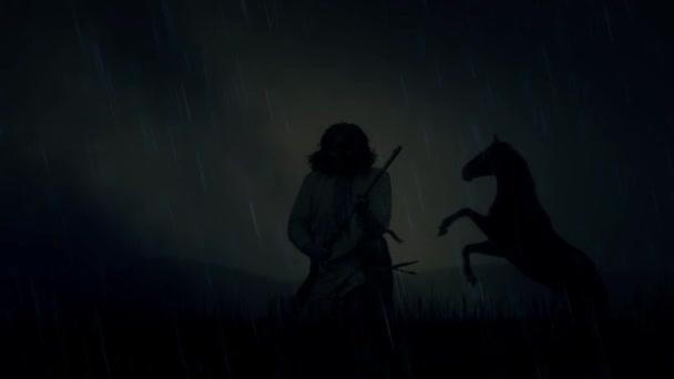 Egy epikus indián harcos és egy ló, a vihar alatt