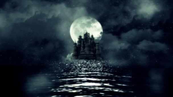 Ein Blick auf eine riesige schwarze Burg mitten im Meer mit einem aufgehenden Vollmond Hintergrund