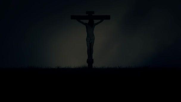 Jézus Crucifixion Kálvária Jeruzsálemben a viharos sötét ég alatt