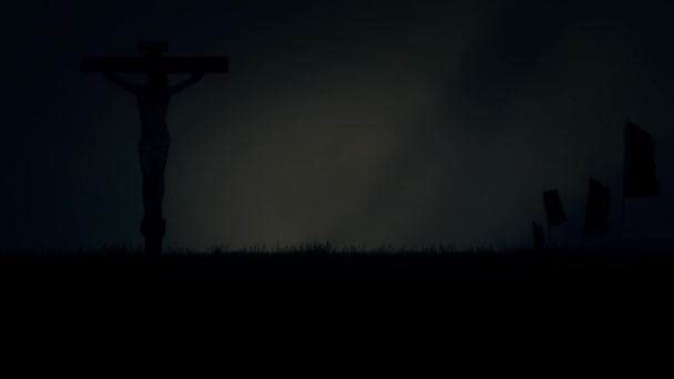 Jesus Christ Crucified Under a Stormy Dark Sky on Mount Calvary in Jerusalem