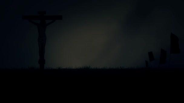 Jézus Krisztus keresztre feszítették, a Kálvária Jeruzsálemben viharos sötét ég alatt
