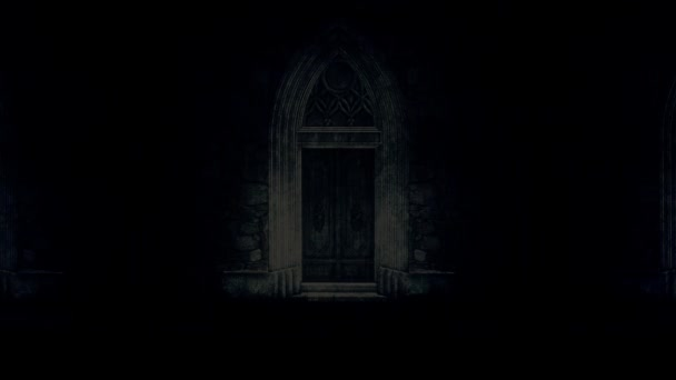 Big and Spooky Castle Door at Night Under a Lightning Storm and Rain