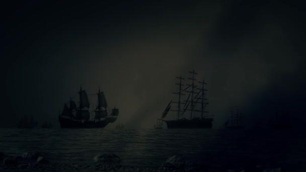 Heavy námořní bitva mezi flotilami lodí plujících pod bouřky