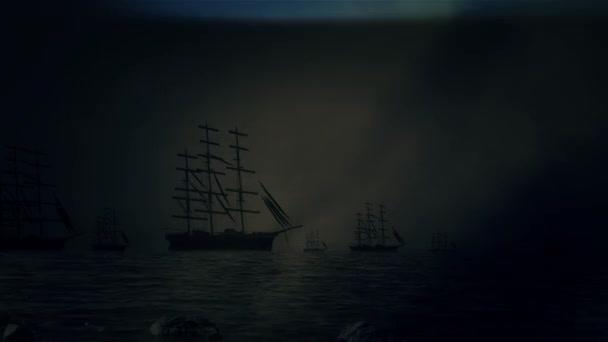 Masivní flotily plachetnice plachtění na břeh za bouřky