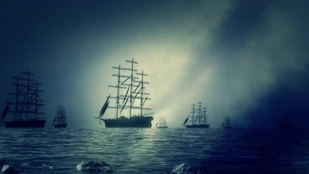 Masivní flotilu plavby lodí dovolená pobřeží a plachtění na moři