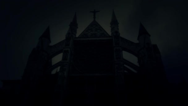 Spooky Church at Night Under a Lightning Storm and Rain