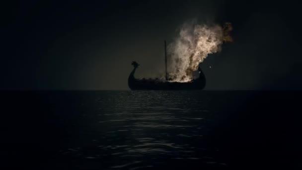 Loď v plamenech jako součást tradiční Vikingský pohřeb