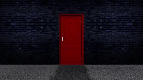 Rote Tür auf grünem Hintergrund