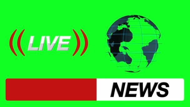 Aktuelles Logo Stoßstange, Globe und Live-Symbol auf einem Green ...