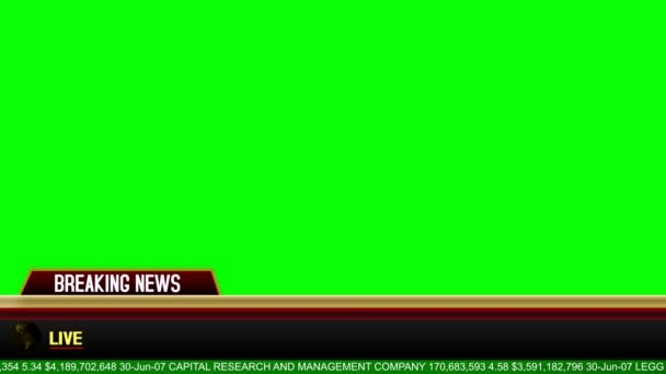 Breaking News Lower Third on a Green Screen Background