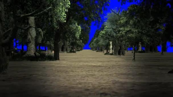 Kouzelný les na pozadí modrá obrazovka