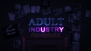 Adult Industry Neon Sign Turning on and Off Above a Door