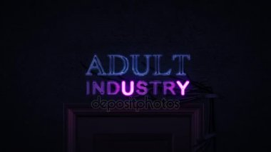 Adult Industry Neon Sign Turning on and Off