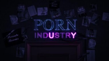 Porn Industry Neon Sign Turning on and Off Above a Door