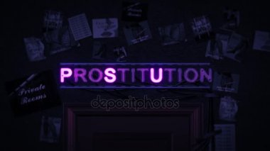 Prostitution Neon Sign Turning on and Off Above a Door