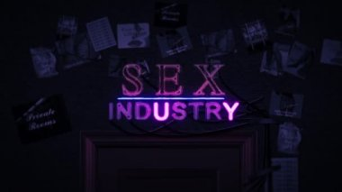 Sex Industry Neon Sign Turning on and Off Above a Door